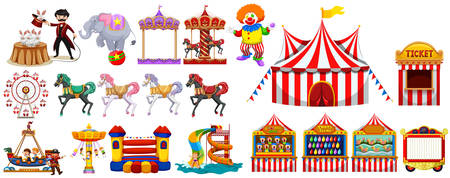 amusement park rides: Different objects from the circus illustration Illustration