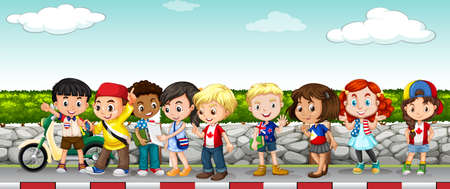 hanging out: Children hanging out on the sidewalk illustration