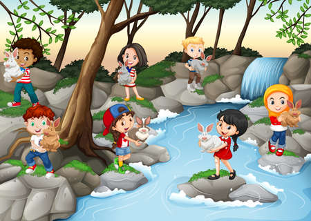 waterfall in forest: Children having fun at the waterfall illustration Illustration