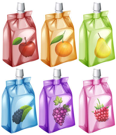 rasberry: Juice with different flavour in the bag illustration Illustration