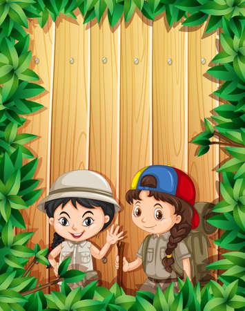 hiking: Border design with two girls hiking illustration Illustration