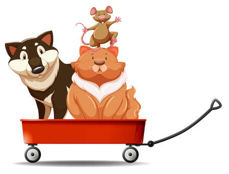 wild living: Dog and cat on red wagon illustration