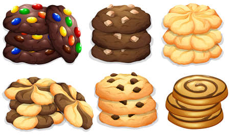 snack: Different flavour of cookies illustration