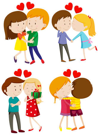 grown with love: Love couple hugging and kissing illustration Illustration