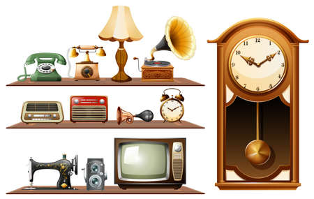 cartoon clock: Different kind of vintage objects illustration
