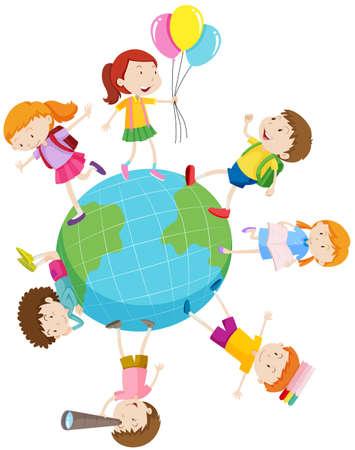 happy people: Children playing around the world illustration