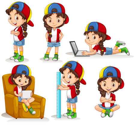 girl drawing: Little girl doing different activities illustration