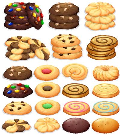 apilar: Diferentes tipos de galletas de la ilustración