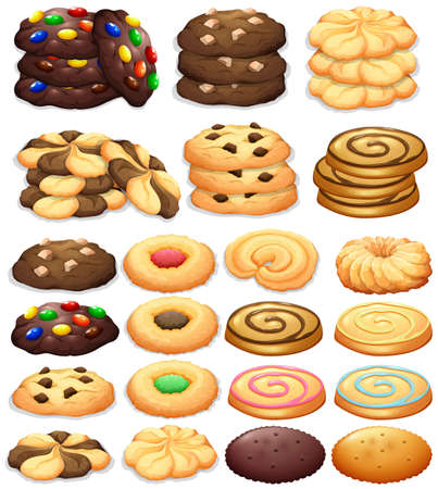 Different kind of cookies illustration Reklamní fotografie - 51440408