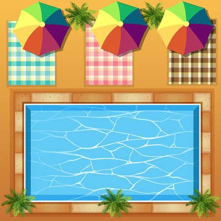Vue de dessus de la piscine illustration Banque d'images - 51440412