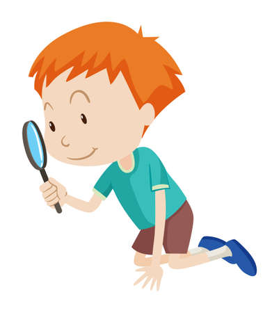 lupa: Niño pequeño que mira a través de aumento ilustración vidrio Vectores