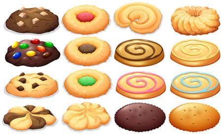 botanas: Diferentes tipos de galletas de la ilustración