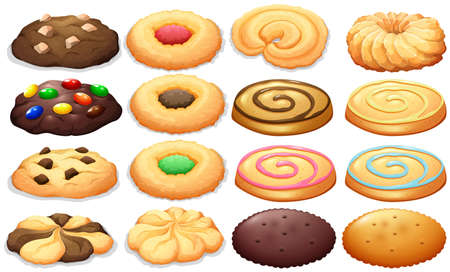 snack: Different kind of cookies illustration