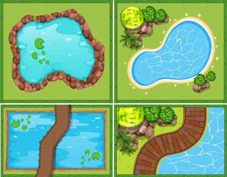 jezior: Cztery sceny z basenem i stawem ilustracji