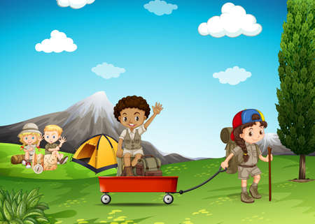 campground: Children camping and playing in the field illustration Illustration