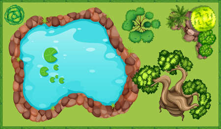 公園のイラストの小さな池