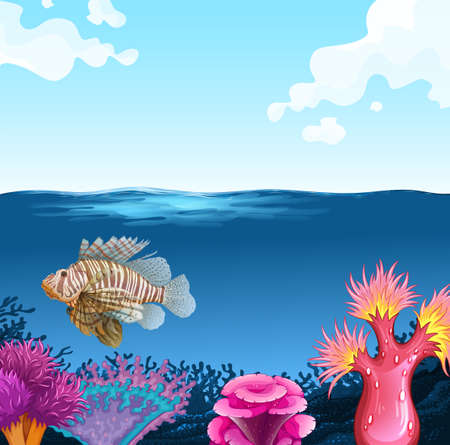 underwater fishes: Fish swimming under the sea illustration