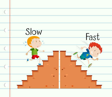 Opposite adjective slow and fast illustration