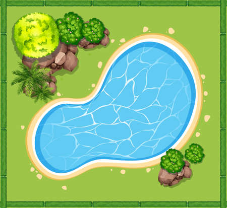 Top view of swimming pool in the garden illustration Çizim