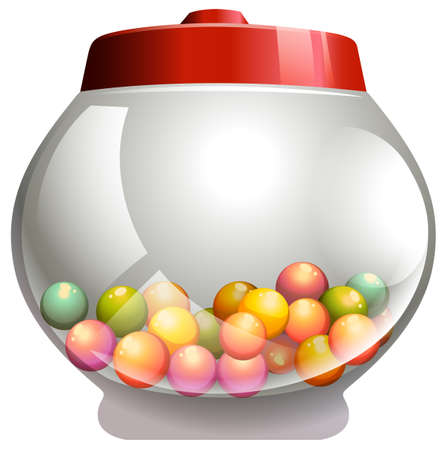 bubble gum: Bubble gum in the glass jar illustration Illustration