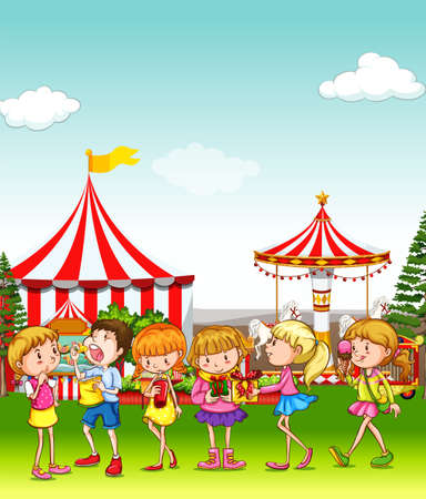 niños sonriendo: Los niños que se divierten en el parque de atracciones de la ilustración Vectores