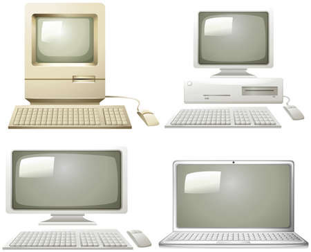old pc: Different generation of personal computer illustration Illustration
