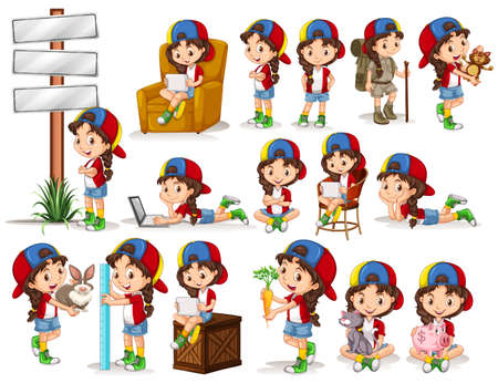cartoon carrot: Little girl doing different activities illustration