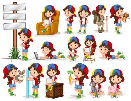 zanahoria caricatura: Niña que hace diferentes actividades ilustración