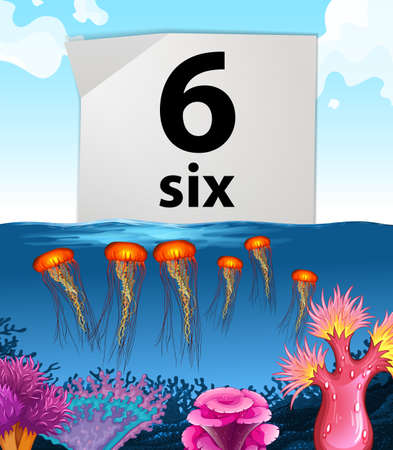 countable: Number six and six jellyfish underwater illustration Illustration