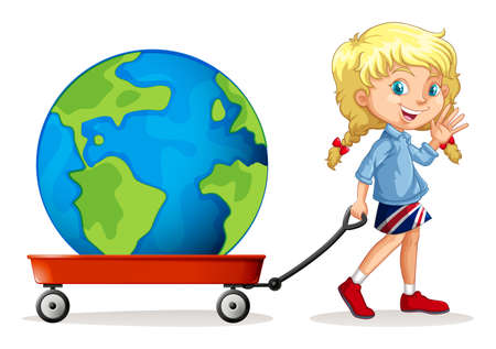 pulling: Little girl pulling wagon with a globe on it illustration Illustration