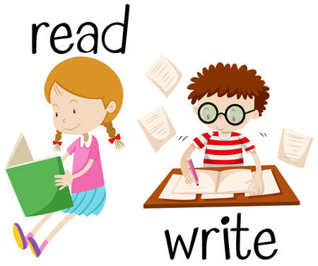 the writing: Girl reading and boy writing illustration