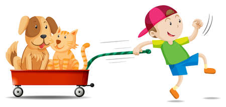 kitten small white: Boy pulling wagon with dog and cat on it illustration