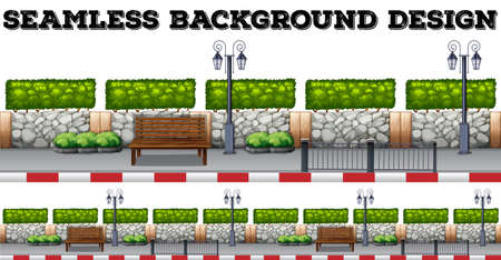 sidewalk: Seamless background with bench and wall illustration