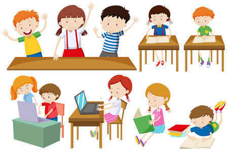 hobby: Students learning and reading illustration Illustration