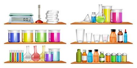 balanza de laboratorio: equipos científicos en la ilustración estantería