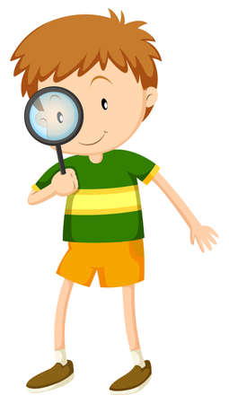 Little boy looking through magnifying glass illustration Vectores