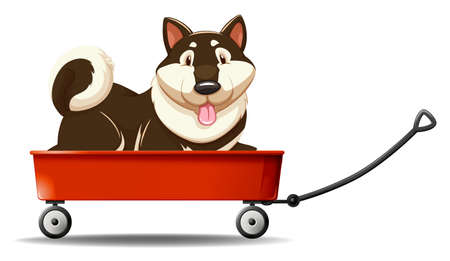 cart: Little puppy sitting on wagon illustration Illustration