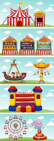 Diferentes paseos en la ilustración de circo