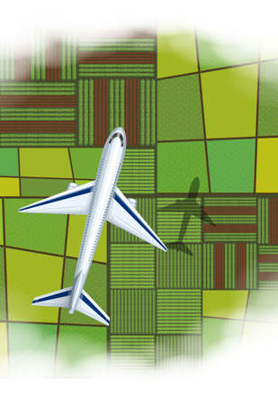 over: Airplane flying over the farmland illustration Illustration
