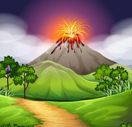 eruption: Nature scene of volcano eruption illustration