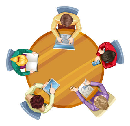 round table: Top view of round table with business people illustration Illustration