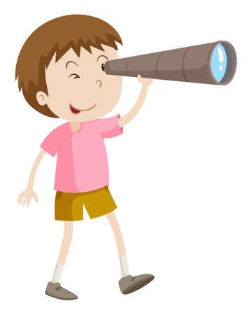 looking: Boy looking through telescope illustration
