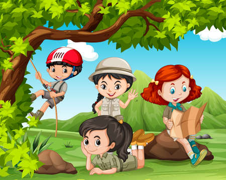niño trepando: Los niños que acampan en el parque de la ilustración