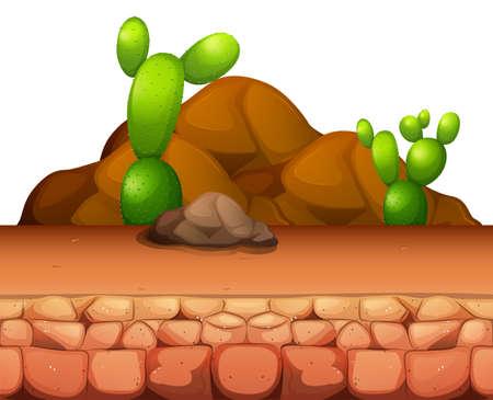 rock stone: Cactus growing in the desert illustration