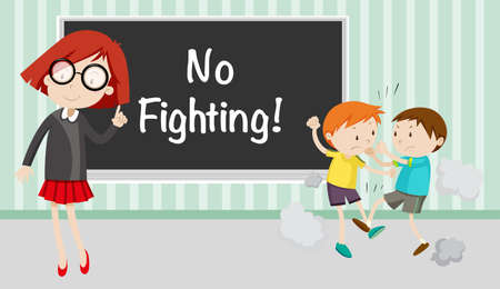 teacher in class: Boy fighting in front of no fighting sign illustration Illustration