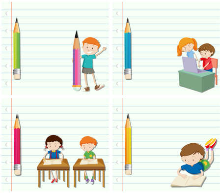 writing paper: Line paper design with children and pencil illustration