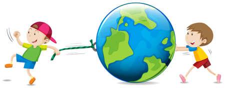 illustrated globes: Boys pulling and pushing the globe illustration