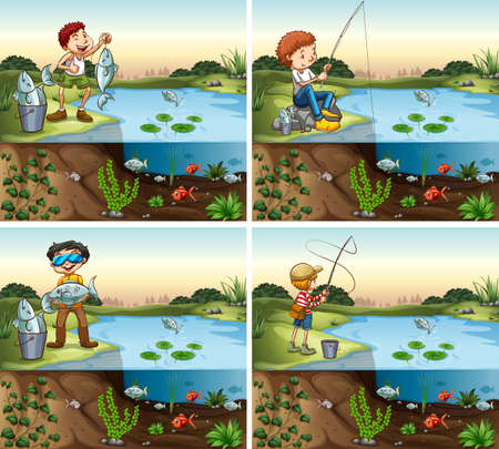 ponds: Four scenes of boy fishing in the pond illustration