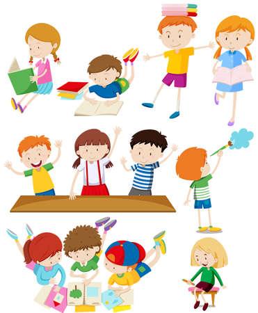 Children doing many activities illustration