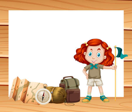 hiking: Border design with girl and camping gears illustration
